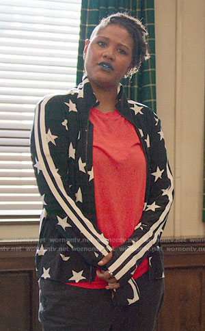 Skye's star print track jacket on The Politician