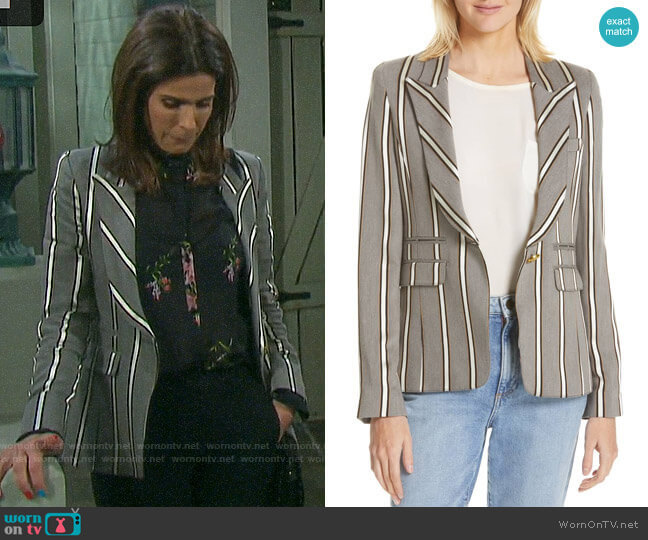 Smythe Peak Lapel Blazer in Grey Ribbon Stripe worn by Hope Williams (Kristian Alfonso) on Days of our Lives