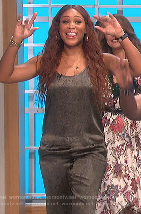 Eve's silk snake skin top and pants on The Talk