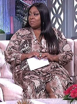 Loni's snakeskin print wrap dress on The Real