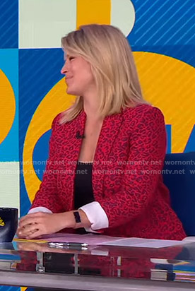 Sara's red leopard print blazer on Good Morning America