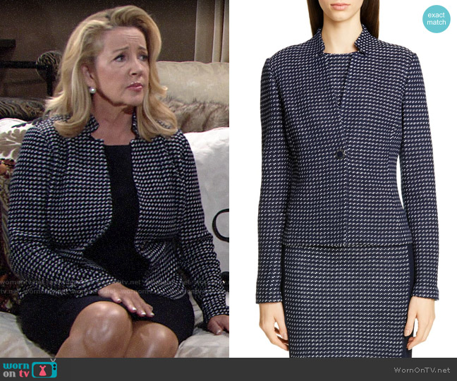 St John Collection Dotted Inlay Tweed Knit Jacket worn by Chelsea Lawson (Melissa Claire Egan) on The Young & the Restless