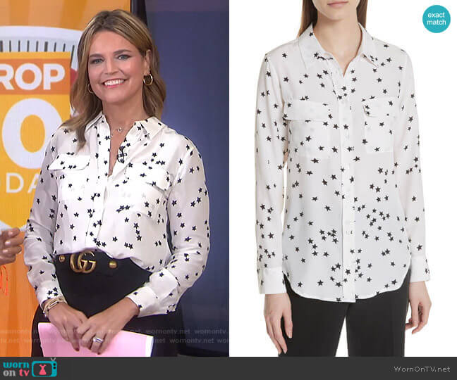 Starry Night Silk Shirt by Equipment worn by Savannah Guthrie  on Today
