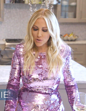 Stephanie's pink sequin asymmetric dress on The Real Housewives of Dallas