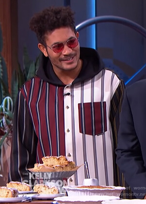 Bryce Vine's striped colorblock shirt on The Kelly Clarkson Show