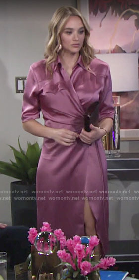 Summer's pink silky short sleeve dress on The Young and the Restless