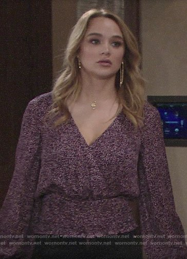 Summer's purple printed crossover top on The Young and the Restless