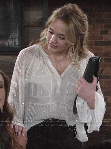 Summer's white bead embellished blouse on The Young and the Restless
