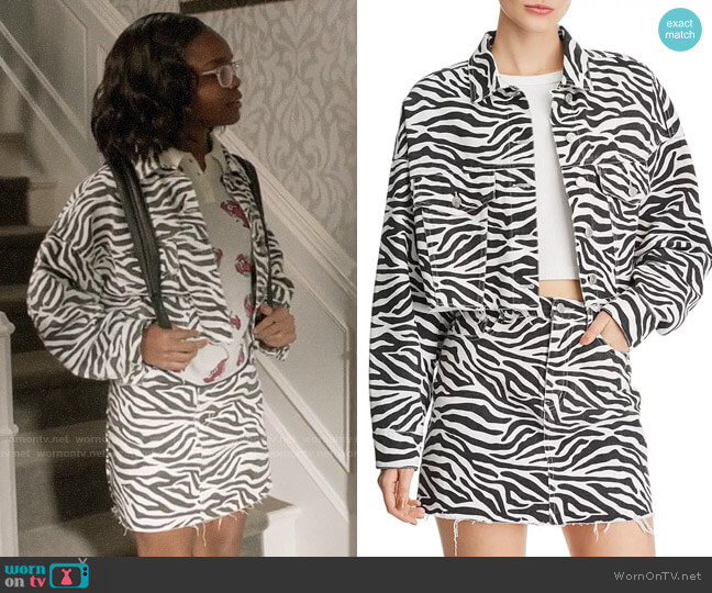 Sunset & Spring Zebra Print Cropped Denim Jacket and Skirt worn by Diane Johnson (Marsai Martin) on Blackish