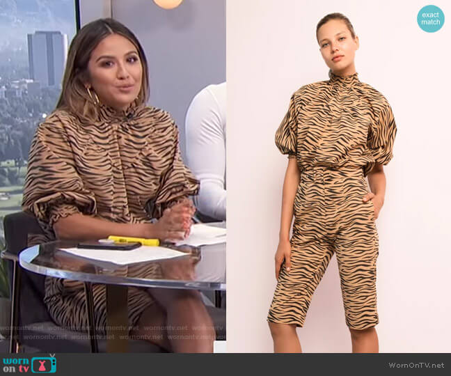 High Neck Blouse and Cropped Pant by S/W/F worn by Erin Lim  on E! News