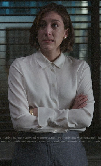 Sydney's white silk button down shirt on Bluff City Law
