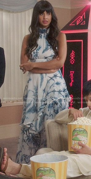 Tahani's blue and white printed maxi dress on The Good Place