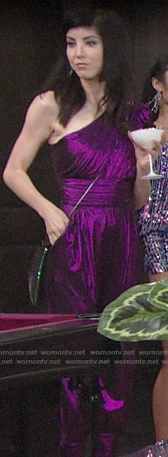 Tallulah's purple one-shoulder jumpsuit on The Young and the Restless