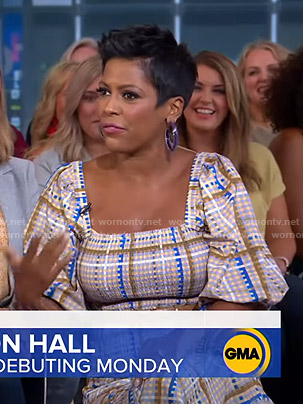 Tamron Hall's beige checked top and skirt on Good Morning America