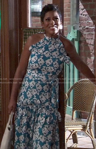Tamron Hall's blue floral ruffled dress on General Hospital