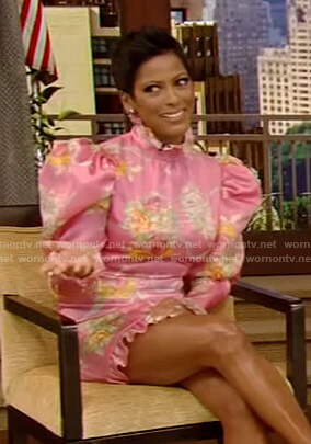 Tamron Hall's pink floral mini dress on Live with Kelly and Ryan