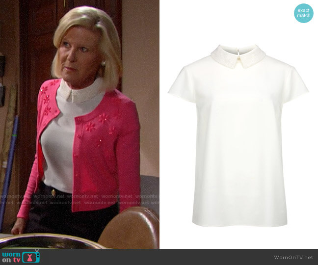Ted Baker Hellia Embellished Collar Top worn by Pamela Douglas (Alley Mills) on The Bold & the Beautiful