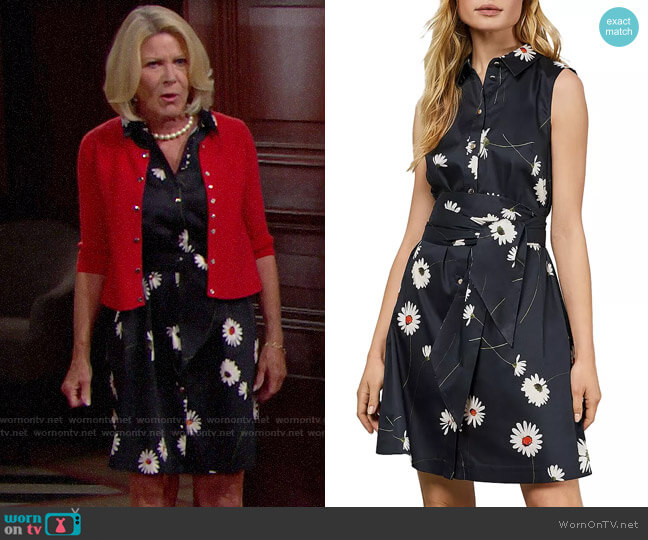 Ted Baker Ertta Daisy-Print Belted Dress worn by Pamela Douglas (Alley Mills) on The Bold & the Beautiful