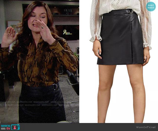 Ted Baker Lyley Faux Leather Mini Skirt worn by Katie Logan (Heather Tom) on The Bold & the Beautiful