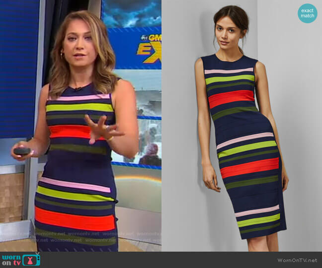 Ysina Striped Dress by Ted Baker worn by Ginger Zee  on Good Morning America