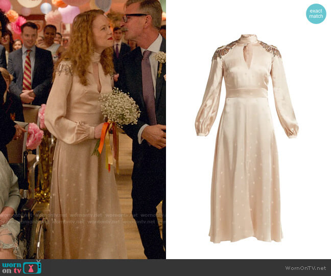 Temperley London Parachute sequinned satin dress worn by Gemma (Zoe Boyle) on Four Weddings & a Funeral
