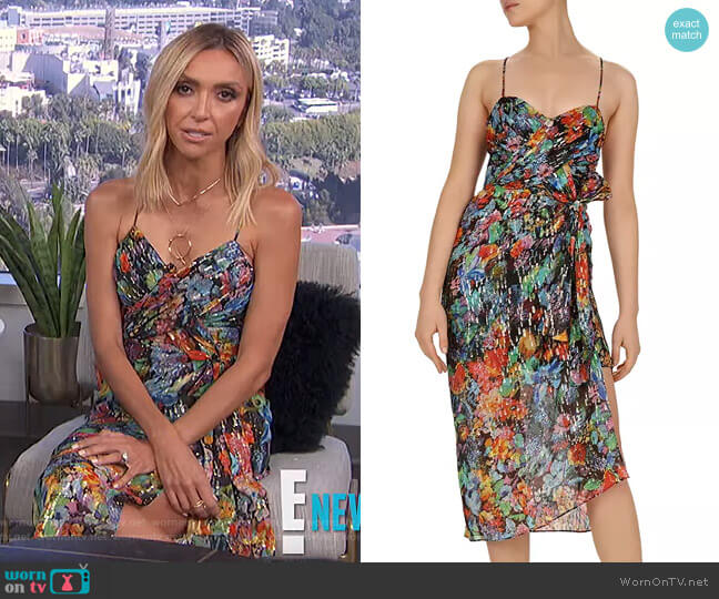 Tokyo Night Floral-Print Midi Overlay Dress by The Kooples worn by Giuliana Rancic  on E! News