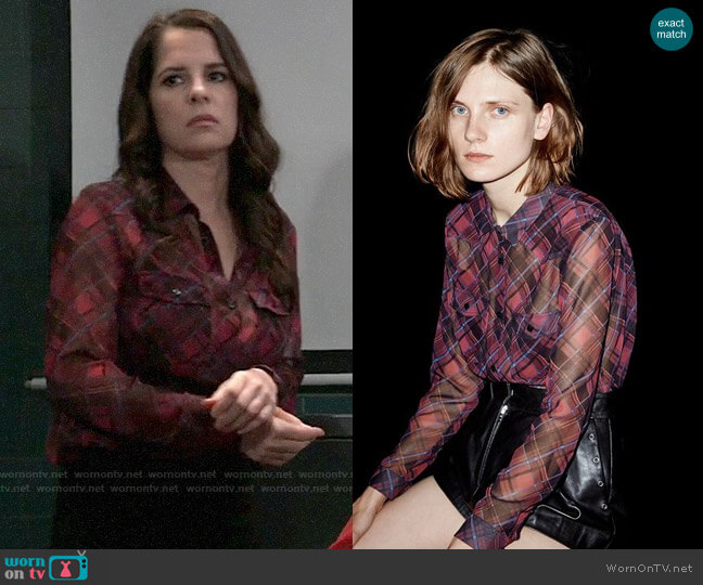 The Kooples Checked Boyfriend Shirt worn by Sam McCall (Kelly Monaco) on General Hospital