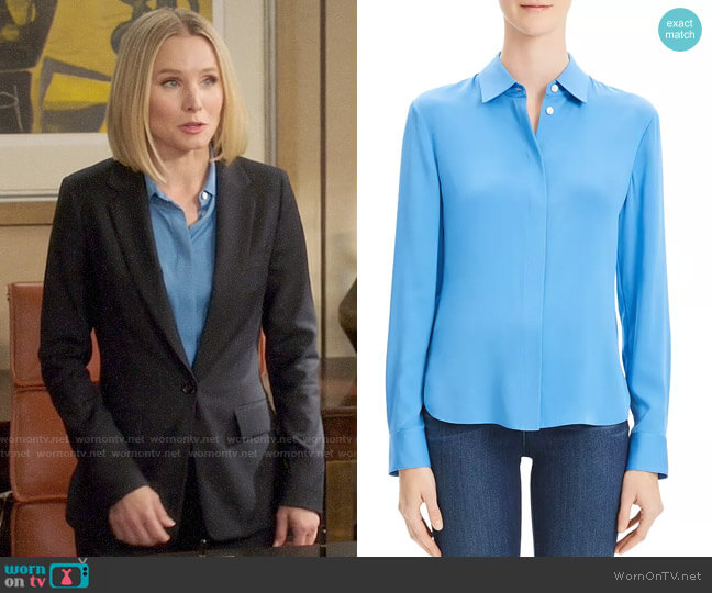 Theory Light Lapis Classic Fitted Shirt worn by Eleanor Shellstrop (Kristen Bell) on The Good Place