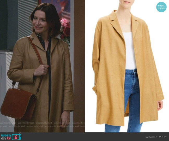 Overlay Lux Linen Coat by Theory worn by Amelia Shepherd (Caterina Scorsone) on Greys Anatomy