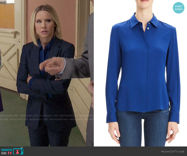 Theory Classic Fitted Shirt worn by Eleanor Shellstrop (Kristen Bell) on The Good Place