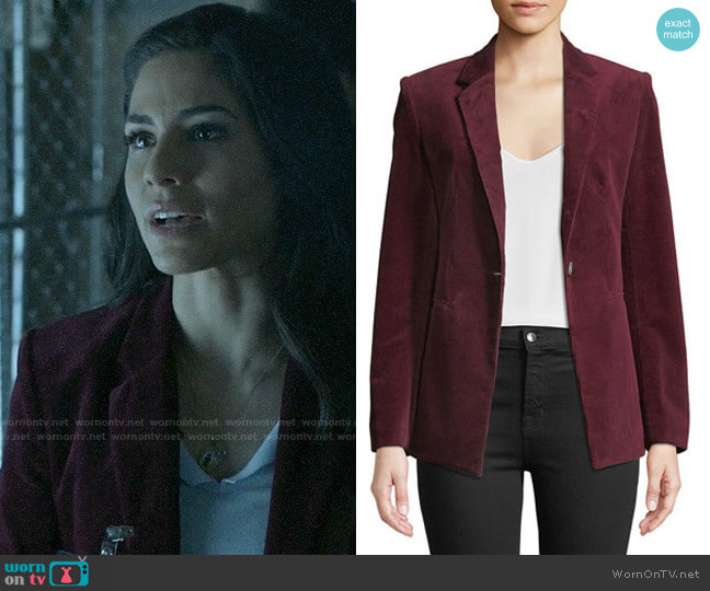 Theory Power One-Button Modern Corduroy Jacket worn by Yoli Castillo (Isabel Arraiza) on Pearson