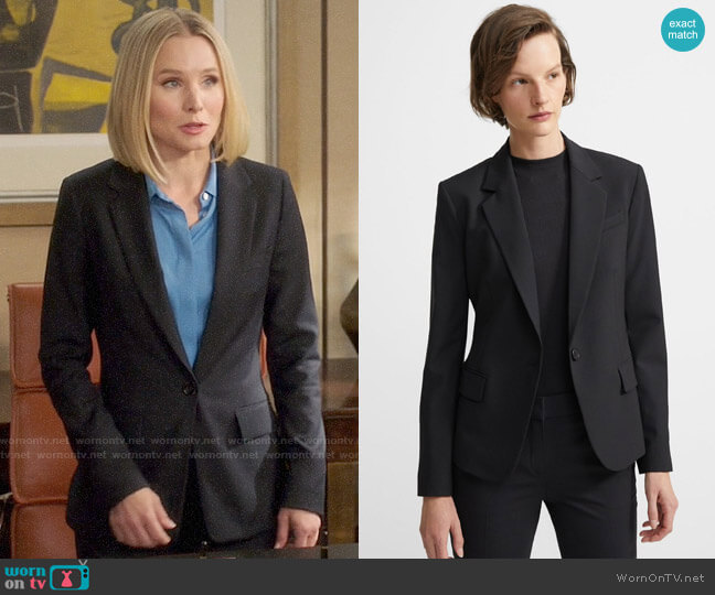 Theory Gabe Blazer worn by Eleanor Shellstrop (Kristen Bell) on The Good Place