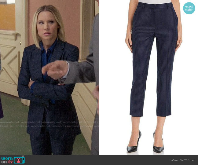 Theory Striped Wool Cropped Pants worn by Eleanor Shellstrop (Kristen Bell) on The Good Place