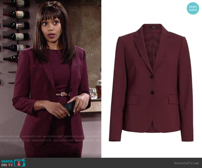 Theory Nichelle Wool Blazer in Mulberry worn by Amanda Sinclair (Mishael Morgan) on The Young & the Restless