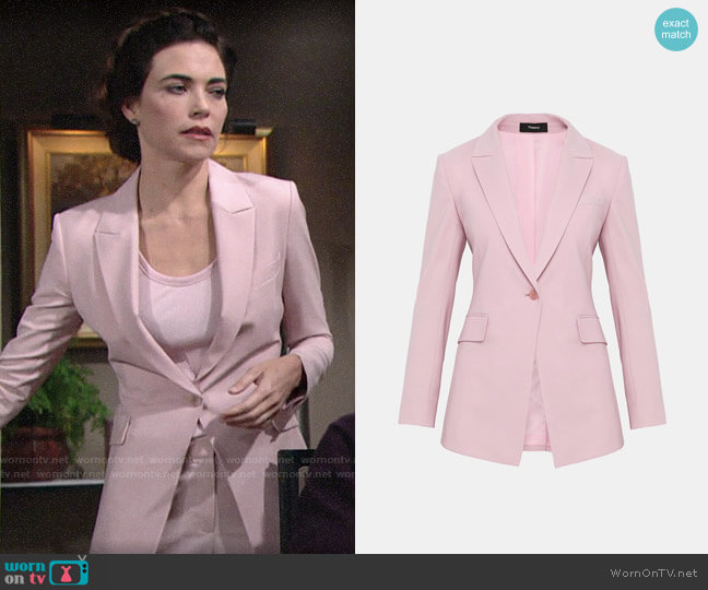 Theory Etiennette B Blazer in Baby Pink worn by Victoria Newman (Amelia Heinle) on The Young & the Restless