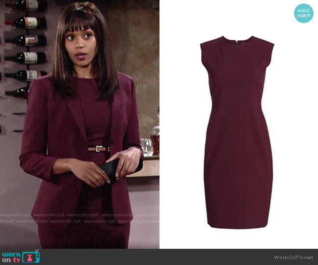 Theory Power Wool Dress in Mulberry worn by Amanda Sinclair (Mishael Morgan) on The Young & the Restless
