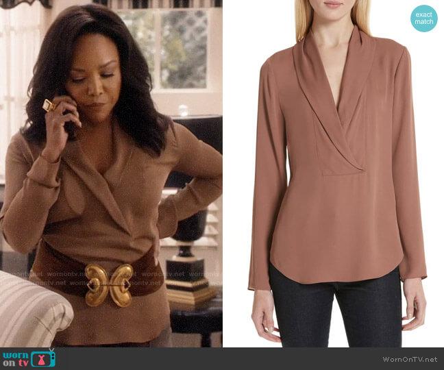 Theory Shawl Collar Blouse worn by Lady Mae Greenleaf (Lynn Whitfield) on Greenleaf