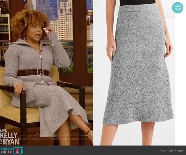 Fluted melange Knitted Midi Skirt by Tibi worn by Taraji P. Henson on Live with Kelly and Ryan
