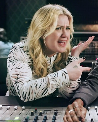 Kelly's tiger stripe blouse on The Kelly Clarkson Show