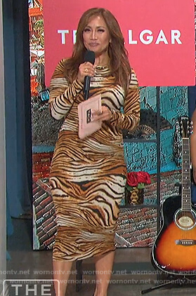 Carrie's tiger stripe dress on The Talk