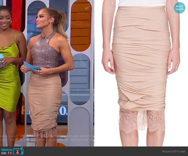 Lace-Hem Ruched Pencil Skirt by Tom Ford worn by Jennifer Lopez on GMA