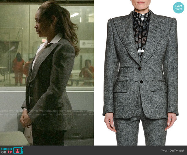 Tom Ford Peak-Lapels Herringbone Stretch-Tweed Jacket worn by Jessica Pearson (Gina Torres) on Pearson