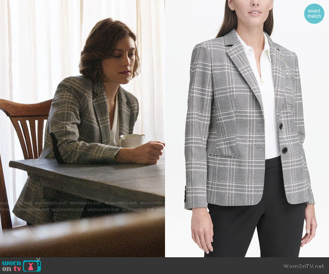 Tommy Hilfiger Plaid Elbow-Patch Blazer worn by Sydney Strait (Caitlin McGee) on Bluff City Law