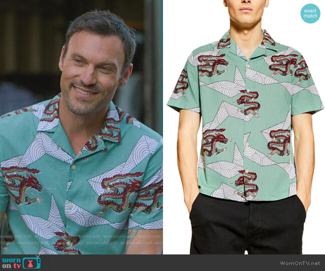 Dragon Print Short Sleeve Button-Up Shirt by Topman worn by Brian Austin Green  on BH90210