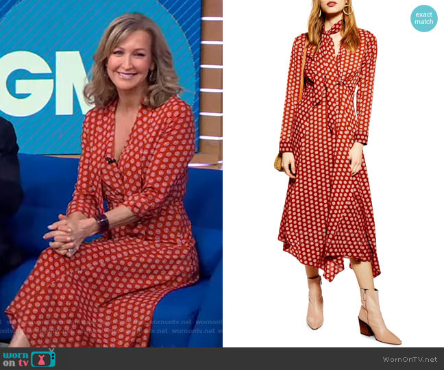 Horse Coin Midi Dress by Topshop worn by Lara Spencer  on Good Morning America
