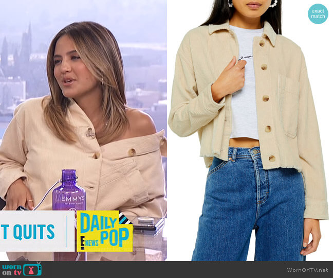 Raw Hem Corduroy Jacket by Topshop worn by Erin Lim  on E! News