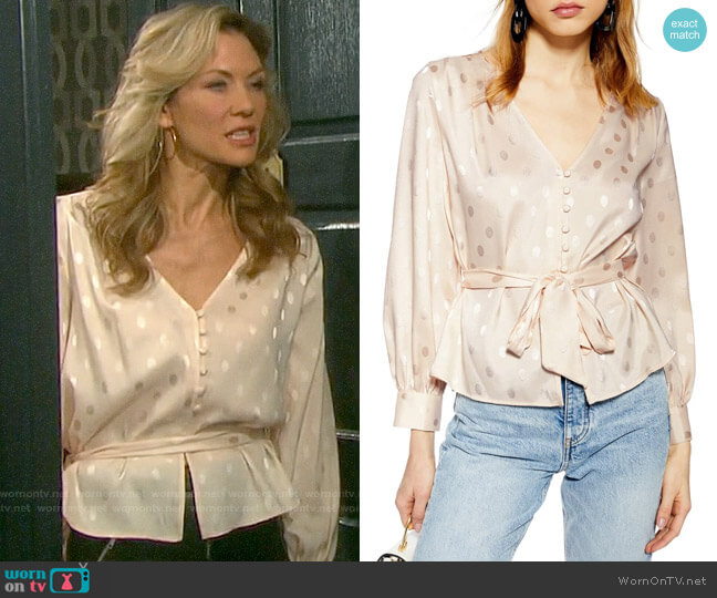 Topshop Spot Jacquard Belted Top worn by Kristen DiMera (Stacy Haiduk) on Days of our Lives