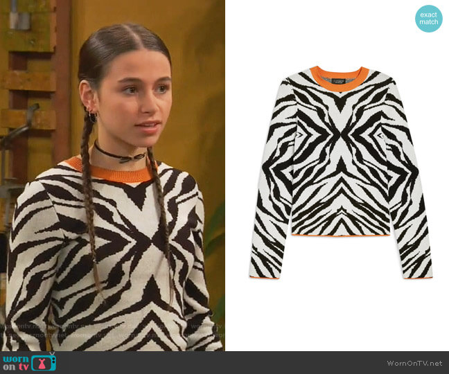 Zebra Skinny Sweater by Topshop worn by Tess O'Malley (Sky Katz) on Ravens Home
