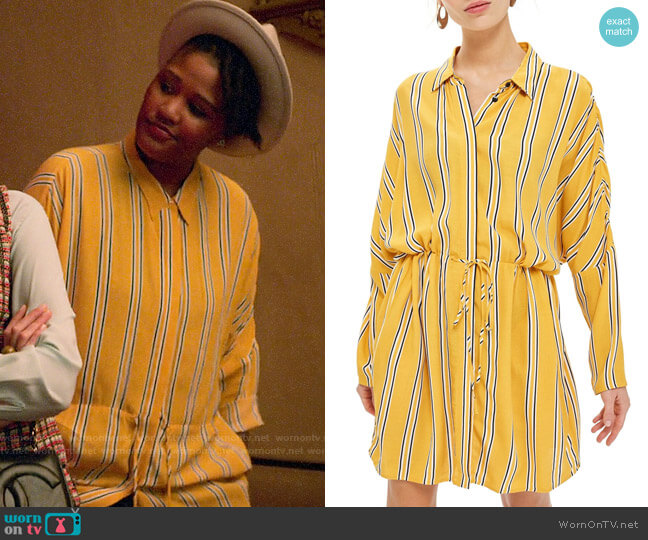 Topshop Drawstring Stripe Shirtdress worn by Skye (Rahne Jones) on The Politician