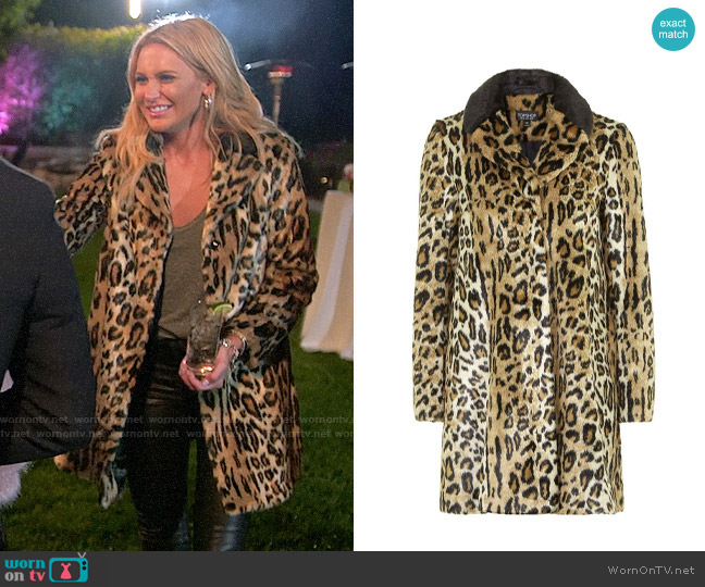 Topshop Leopard Print Faux Fur Swing Coat worn by Stephanie Pratt  on The Hills New Beginnings
